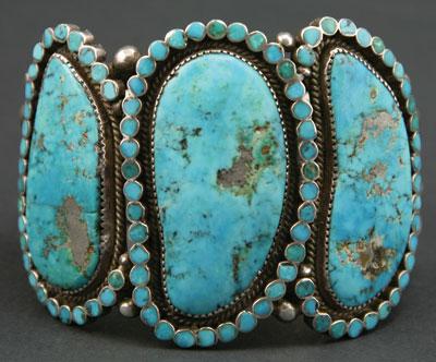 Virgil Dishta, Sr. (b. 1921)   Zuni Silver and Morenci Turquoise Bracelet   c. 1950   Size 7.25