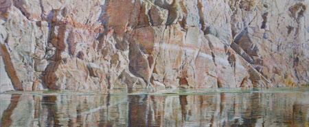 Merrill Mahaffey    Reptilian    Acrylic on Canvas    30 x 72