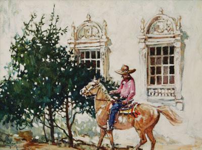 Ross Stefan (1934-1999)    Camino Real    Oil on Linen    c. 1999    12 x 16
