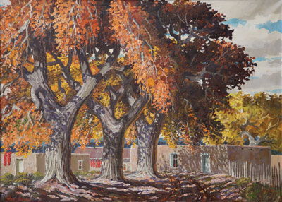 Ben Turner (1912-1966) New Mexico Hacienda, Oil on Canvas, 26 x 36