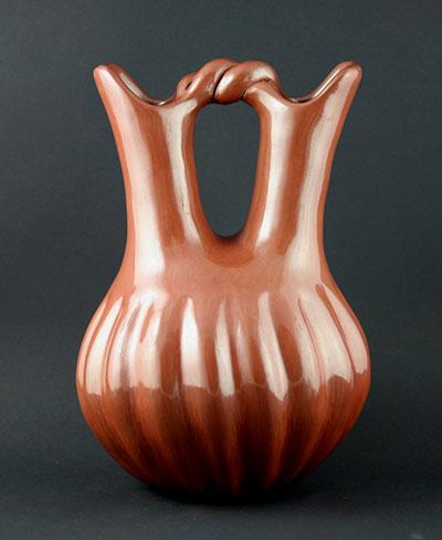 "Helen Baca Shupla (1928-1985) Santa Clara Red Melon Wedding Vase April 23, 1984, 10.5"" x 6.75"""